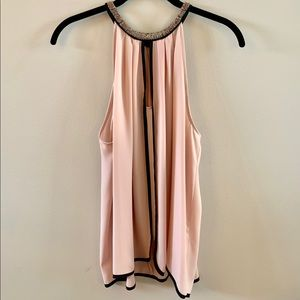 Pink/Blush Silk Halter Blouse with Beaded Trim